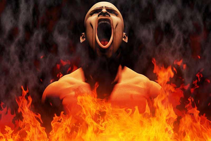 zorniger Mensch und Feuer